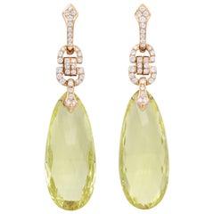 Art Deco Diamond Lemon Quartz and 18 Karat Rose Gold Pendant Earrings