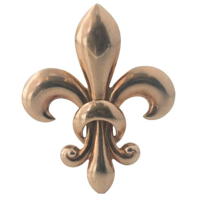 1930s Fleur-de-Lis 14 Karat Rose Gold Pin Pendant