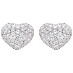 Diamond Pave 18 Karat White and Yellow Gold Heart Shape Earrings