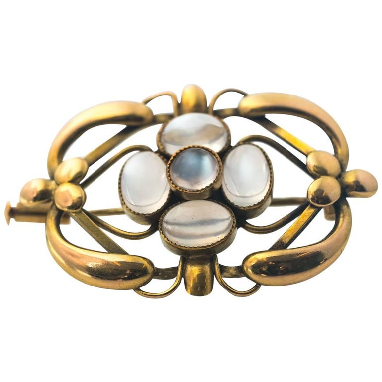 1940s Georg Jensen 18 Karat Yellow Gold Moonstone Brooch
