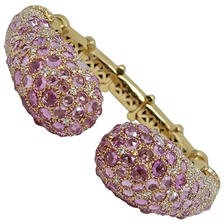 25.98 Carat Pink Sapphire and Diamond Yellow Gold Bangle