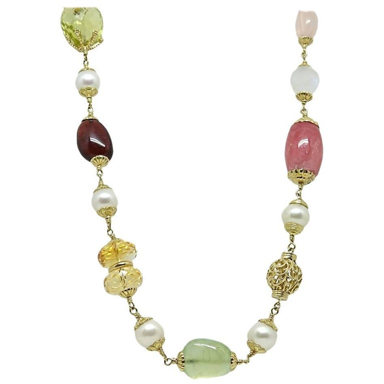 Seaman Schepps Multi Stone Yellow Gold Necklace