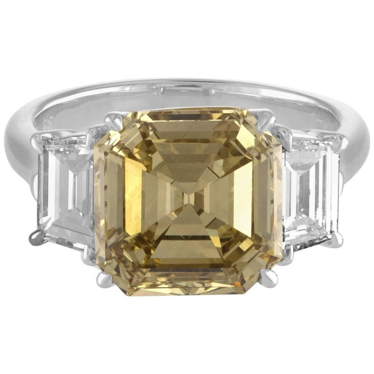 4.76 Carat Square Emerald Cut, GIA Certified, Set in Three-Stone Two-Tone Ring