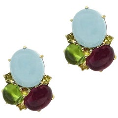 Seaman Schepps Aquamarine, Peridot, and Tourmaline Yellow Gold Earrings