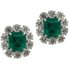 5.18 Carat Emerald and Diamond White Gold Earrings
