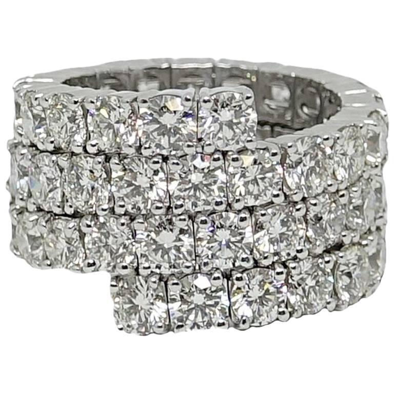 11.92 Carat Diamond Spiral White Gold Ring