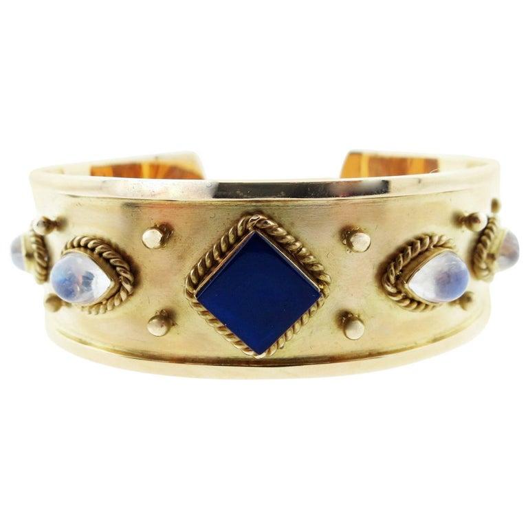 MAZ Lapis Lazuli and Moonstone Gold Cuff Bracelet