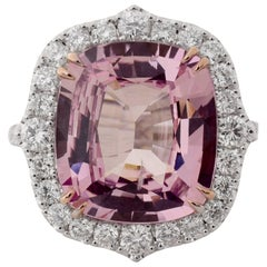 GIA Certified 8.47 Carat Padparadscha Pink Sapphire Diamond Cocktail Ring