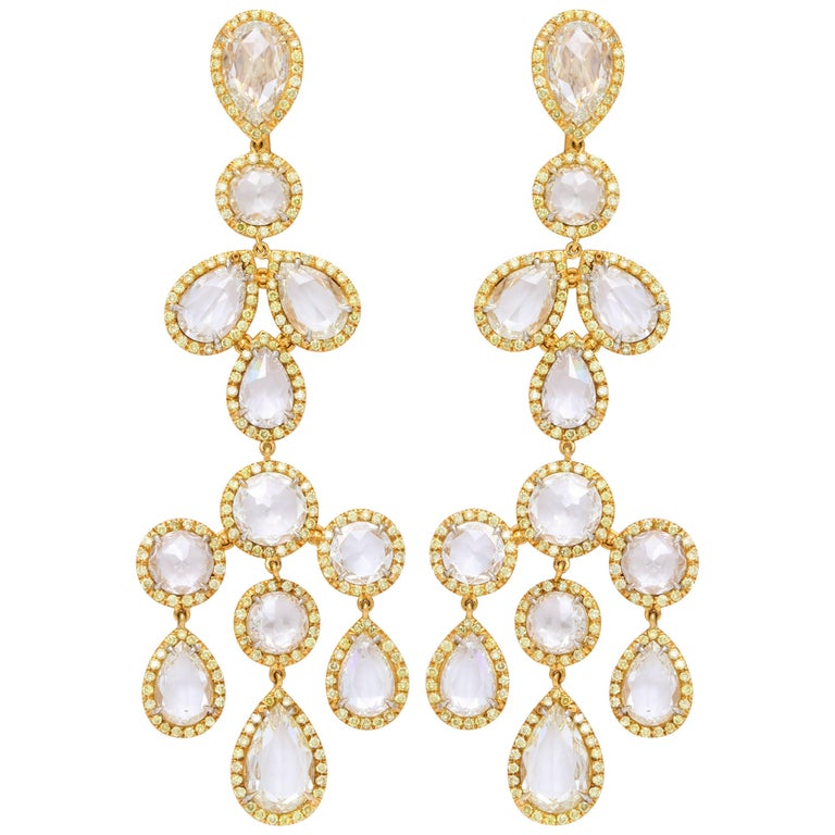 Platinum and 18 Karat Yellow Gold Diamond Chandelier Earrings
