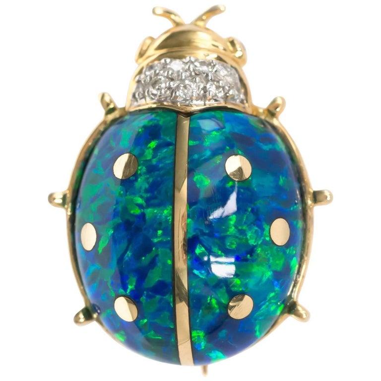 18 Karat Yellow Gold Beetle Pin