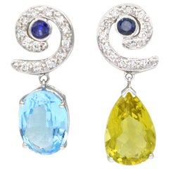 Renato Cipullo White Gold Diamond, Sapphire, Topaz and Beryl Drop Earrings