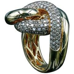 18 Karat Gold Diamond Cocktail Ring with 2.02 Carat of Round Champagne Diamonds