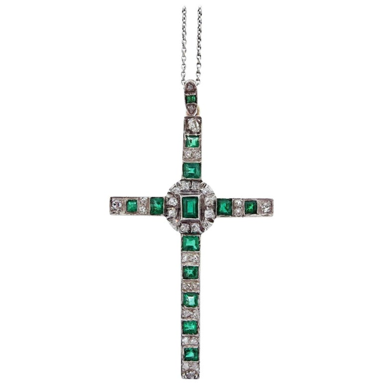 Antique Edwardian Platinum and Gold Emerald and Diamond Cross on Platinum Chain