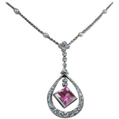 18 Karat Gold Diamond and Pink Tourmaline Pendant Suspended from Pearl Chain