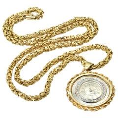 Bulova Yellow Gold Diamond Vintage Pendant Watch on Yellow Gold Chain