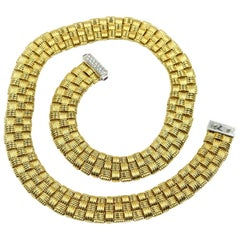 Roberto Coin Three-Row Diamond 18 Karat Yellow Gold Collar Necklace