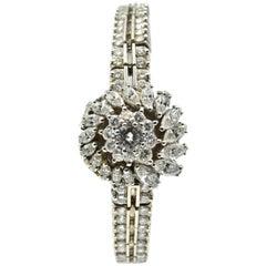 Omega Ladies White Gold Diamond Vintage Manual Wristwatch