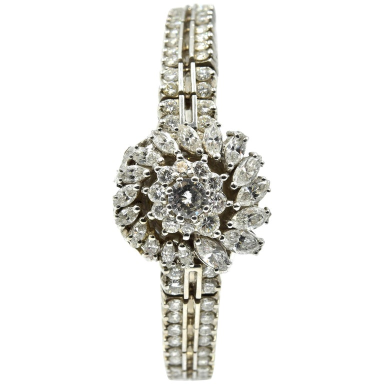 Omega Ladies White Gold Diamond Vintage Manual Wristwatch