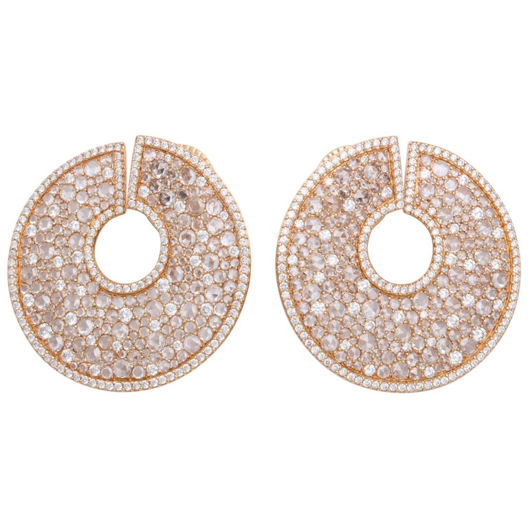 18 Karat Rose Gold Diamond C-Scroll Earrings