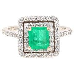 1.54 Carat Emerald Diamond Engagement 18 Karat White Gold Ring