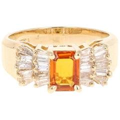 1.78 Carat Orange Sapphire Diamond Yellow Gold Ring