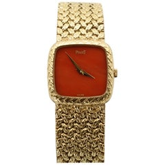 Piaget Ladies Yellow Gold Retro Coral Faced Crystal Wristwatch