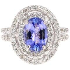 2.90 Carat Tanzanite Diamond Halo Ring