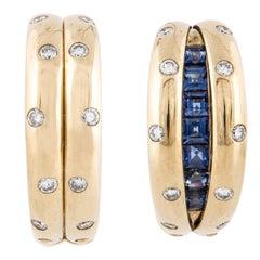18 Karat Diamond Earrings with Hideable Sapphires