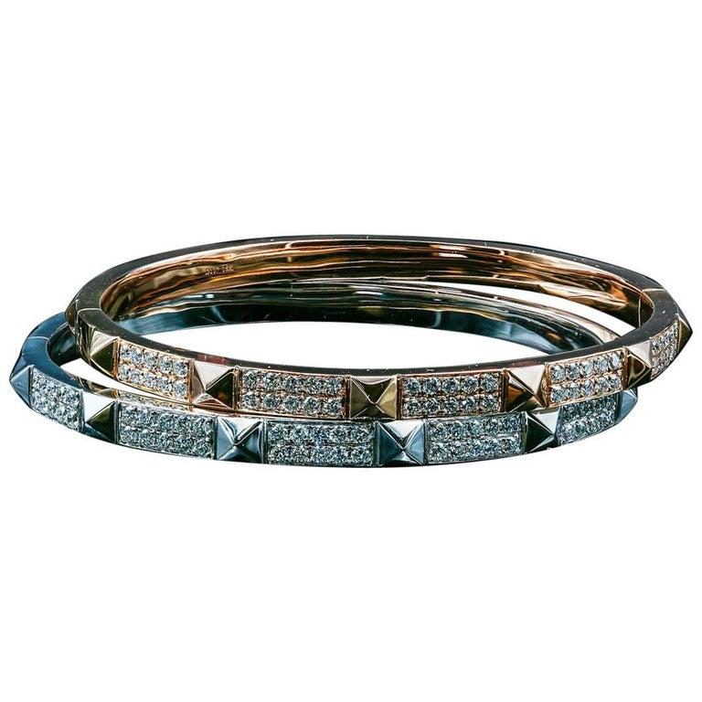 Stackable 18 Karat Gold and 1.14 Carat Diamond Bangle
