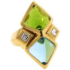 Marina B Aquamarine Peridot Diamond Yellow Gold Ring, 1980s