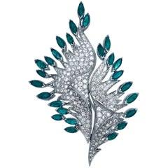8 Carat Diamond Platinum Feather Pin with 8.80 Carat Emeralds