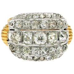 Authentic 1940 Diamond Cocktail Gold Ring