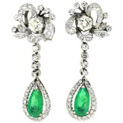 Art Deco Colombian Emerald and Diamond Pendant Gold Earrings
