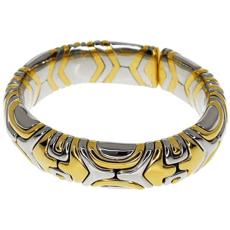Bulgari Alveare Bracelet 750 18 Karat Yellow Gold Stainless Steel