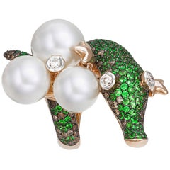 South Sea Pearl, Tsavorite, Diamond Crocodile Cocktail Ring