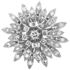 French 1.50 Carat Diamond Gold Flower Brooch