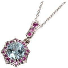 Aquamarine Pink Sapphire Platinum Pendant Necklace