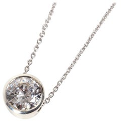Platinum White Diamond Slider Pendant Necklace