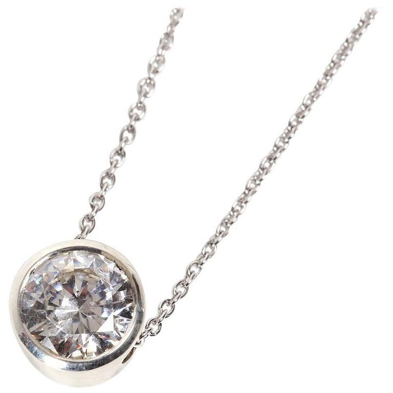 Platinum White Diamond Slider Pendant Necklace