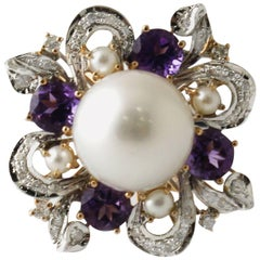 Rose and White Gold Ring with Diamonds, Amethyst and Beads and Central Pearl