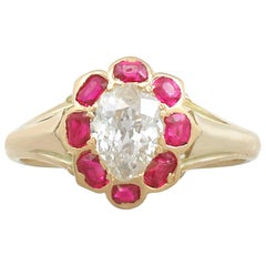 1900s Antique Diamond and Ruby Yellow Gold Cocktail Ring