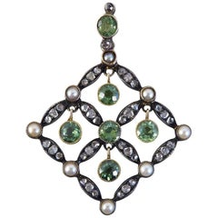 Antique Edwardian Peridot, Diamond and Cultured Pearl Drop Pendant
