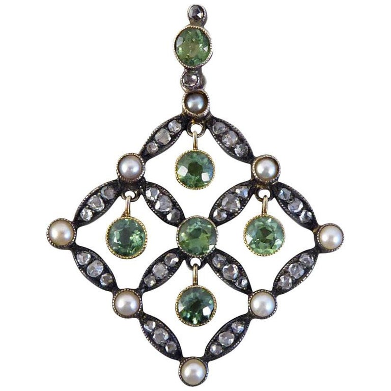 Antique Edwardian Peridot, Diamond and Cultured Pearl Drop Pendant