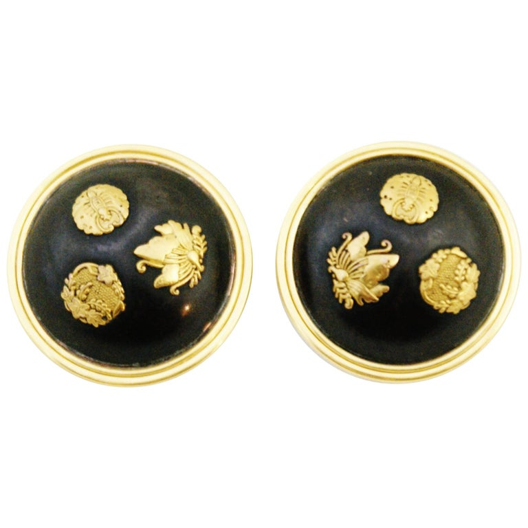 Victorian circa 1880 Shakudo Butterfly Clip-On Earrings