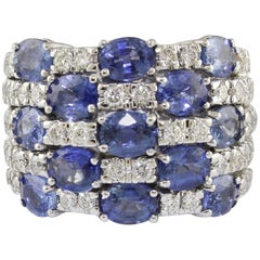 Checkerboard  Diamond Sapphire 18 Karat White Gold Ring