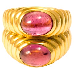 Bulgari Yellow Gold and Red Tourmalines Double Ring