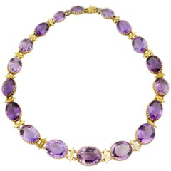 Victorian Etruscan Revival Amethyst and Gold Riviere Necklace
