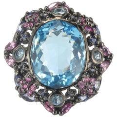 New 20.18 Carat Topaz Sapphires Tanzanites Silver Cocktail Ring