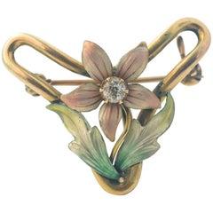 1950s Diamond, Enamel Pink Floral 14 Karat Yellow Gold Convertible Pin Pendant