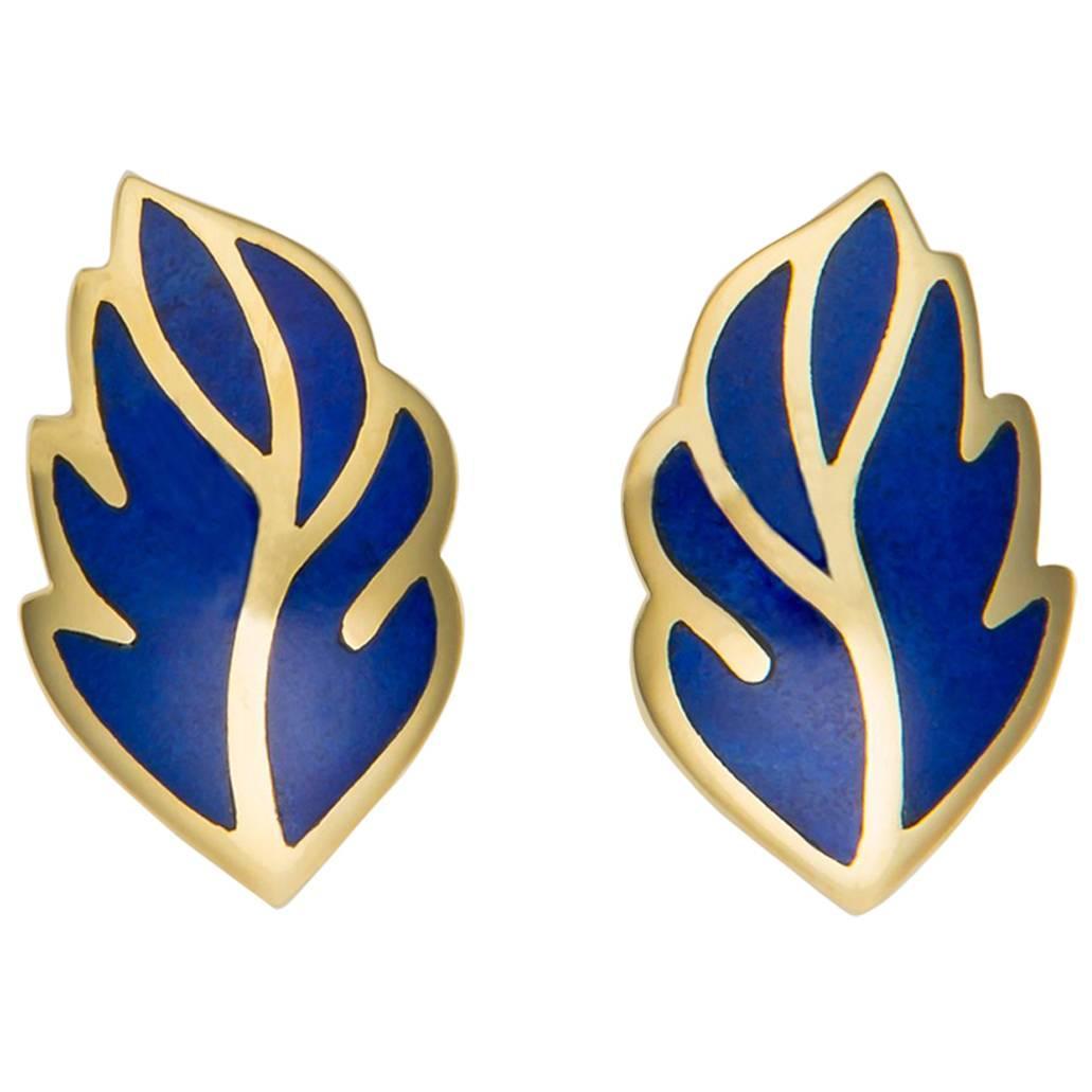 Tiffany & Co. Lapis Leaf Motif Earrings